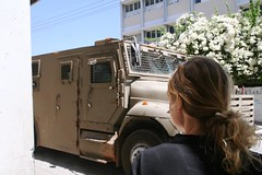 an armored transport passes us (Michael.Loadenthal) Tags: israel palestine westbank military incursion israelipalestinianconflict israelandpalestine nablusregion askarrefugeecamp militaryinvasion westbankandgazastrip