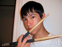 Self-portrait with drumsticks