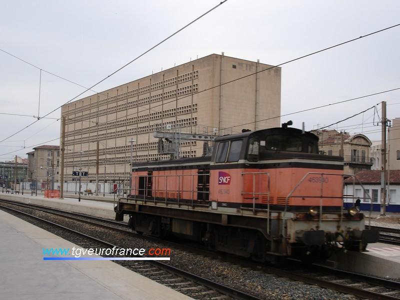 Une locomotive de manœuvre BB63500 SNCF en gare Saint-Charles