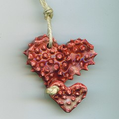 2 Piece Spiked Heart Pendant (jmnpottery) Tags: ceramic handmade spike etsy pendant spiked jmnpottery