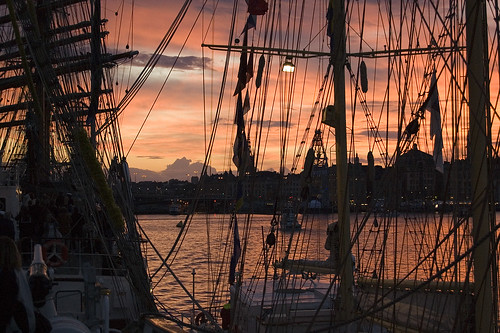 View of Stockholm in sunset from Mexican ship Cuauhtémoc