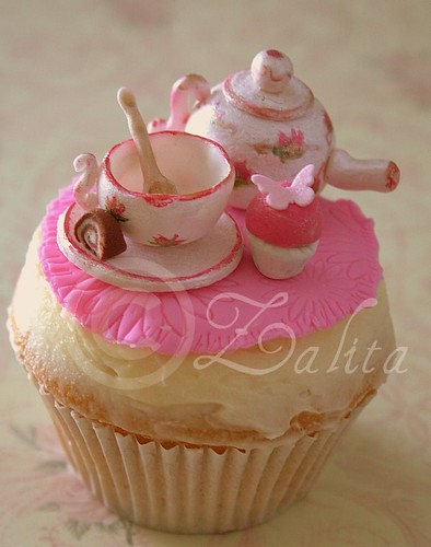 vintage tea set with cupcake / zahirah Motala Sardar
