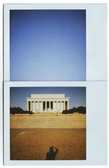 shadow at the lincoln memorial (,esther) Tags: building architecture sunrise polaroid washingtondc sleepy lincolnmemorial