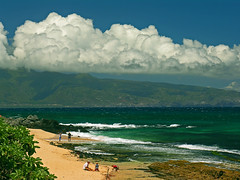ho'okipa (nj dodge) Tags: ocean beach clouds hawaii pacific listeningto maui windsurfing twolights hookipa fiveforfighting westmauimountains kuau