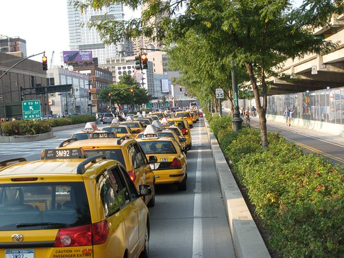 Taxis Lined Up To Pick Up Passengers