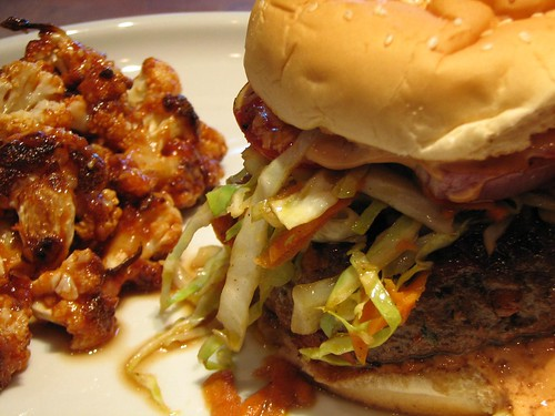 ... Chimichuri Burgers and Roasted Cauliflower with Indian Barbecue Sauce