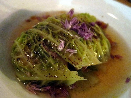 Green Cabbage Foie Gras Rolls with Kimchi Consommé