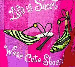 Life is short.  Wear cute shoes! (ArtsySFMarjie) Tags: city pink red tree fashion sex photoshop high shoes award sexandthecity heels filters challenge stillettos highheelshoes theshoemuseum awardtree lifeisshortsowearcuteshoes