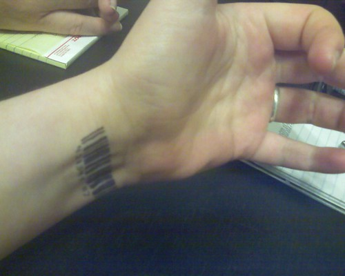 barcode tattoos for girls. ar code tattoos.