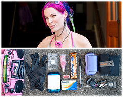 Cristal Diptych (J Trav) Tags: portrait girl persona diptych whatsinyourbag pinkhair nikond90 theitemswecarry