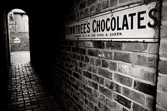 IMG_1982a (smiscandlon) Tags: county bw brick sign wall museum town alley king open durham chocolate air chocolates queen beamish lane cobbles rowntrees blackwhitephotos