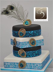 Peacock wedding cake (G3 Creations (Nikis Cakes)) Tags: blue wedding white black london cake glitter vegan heathrow weddingcake feather peacock delicious bollywood middlesex hounslow harrow edgware creations fondant buttercream eggless weddingcupcakes sugarpaste rolledfondant peacockwedding peacocktheme peacockweddingcake g3creations wwwg3creationscom peacockfearher g3wedding egglesspeacockweddingcake