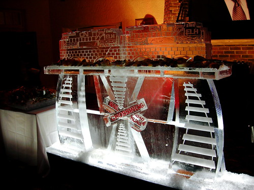 Train Seafood table ice sculpture