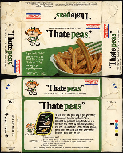 American Kitchen - I Hate Peas - package box - 1970's