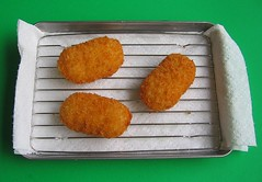Croquettes on mini cooling rack