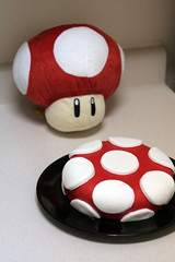 First Fondant Cake! (mandrake68) Tags: red white game mushroom up cake video power nintendo mario dot polkadot fondant