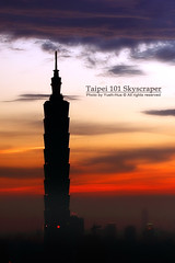 Taipei 101 Skyscraper * Sunset (*Yueh-Hua 2013) Tags: camera sunset building tower architecture night skyscraper canon buildings eos fine taiwan 101  taipei taipei101 dslr   tamron   soe    30d  101  a16  blueribbonwinner    canoneos30d verticalphotograph tamronspaf1750mmf28xrdiii shieldofexcellence  taipei101skyscraper taipei101internationalfinancialcenter 2007june tigerpeak