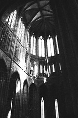 Mont St Michel (tricherson) Tags: windows light blackandwhite bw france film church window monochrome europe shadows cathedral grainy montstmichel montsaintmichel lemont lpwindows