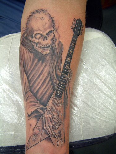 grey-rock reaper Tattoo by The Tattoo Studio. Tattooed at The Tattoo Studio,