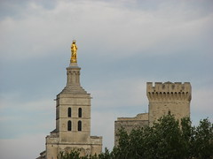 Avignon Cathedral (Salena Stinchcombe (Semmens)) Tags: blue sky france statue clouds gold europe catholic cathedral roman south des virgin provence notre dame avignon doms