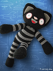 Major Tom! (Dolly Oblong) Tags: black cute wool cat grey crazy handmade space gray knit handknit funky astronaut felt plush yarn softie plushie dolly tartan dollies tommie majortom dollyoblong