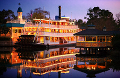 Liberty Square (Jeff_B.) Tags: reflection reflections evening orlando epcot florida disney steam disneyworld riverboat americana steamboat wdw waltdisneyworld magickingdom waltdisney paddlewheel libertybelle riversofamerica liberysquare disneyphotography disneyphotograph twlilgiht