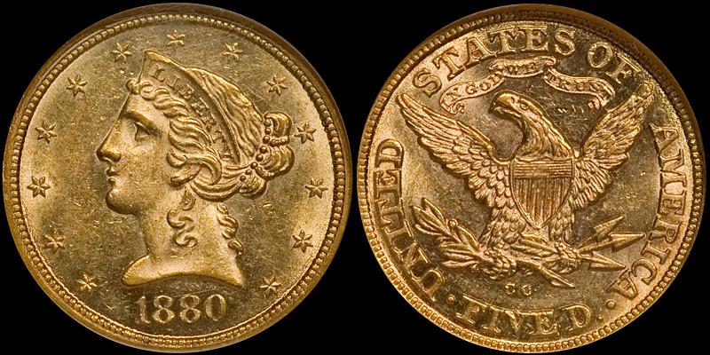 1880-CC $5.00 NGC MS61