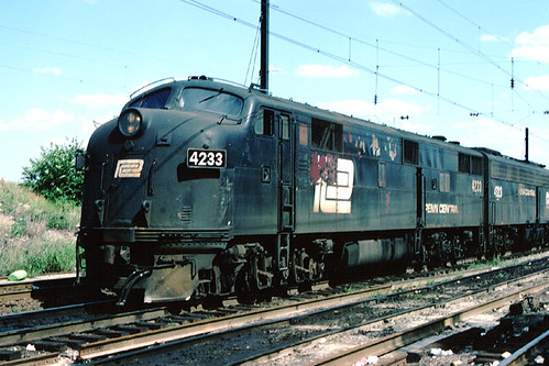 Penn Central EMD E-7 passenger locomotive # 4223. South Amboy New Jersey. July 10th, 1977 by Eddie from Chicago