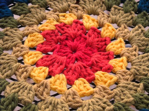 Close-up of granny mandala