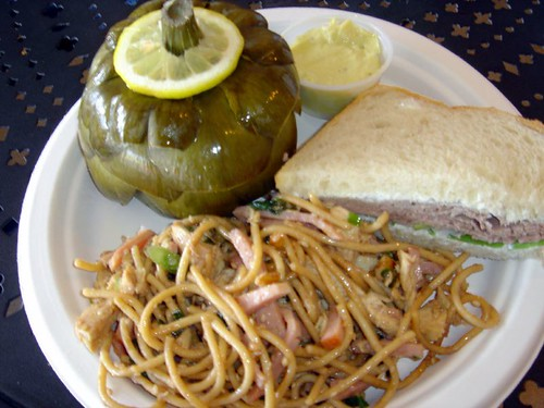 Sesame noodle salad with Roast Beef Sandwich and Artichoke