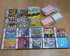 Portable joys, Nintendo way (_ashka) Tags: lite nintendo ds games collection videogames kanji osu zookeeper animalcrossing videogame zelda nintendods gameboy themepark sims streetfighter nds cartridges gba kingdomhearts ageofempires wario urbz anothercode hori goldensun phoenixwright osutatakaeouendan nintendodslite ndsl gyakutensaiban kakitorikun turborevival