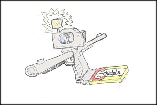 كاريكاتير المسدس-بريشة طارق عمرو