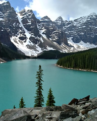 Moraine Lake (ReggyT) Tags: trees mountain lake rockies glacier moraine