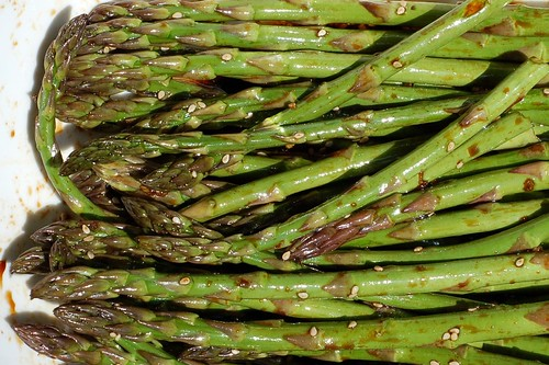 Asparagus Soaking in Asian Marinade by Eve Fox, Garden of Eating blog