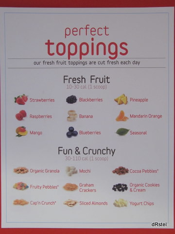 Red Mango toppings menu