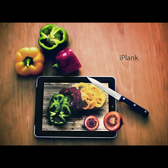 iPlank, a hundred applications. (Dr Cullen) Tags: wood apple tomato table nikon knife 3g frontpage plank redpepper yellowpepper greenpepper ipad 35mmf18 explored explore1 drcullen d300s nikond300s ipad3g