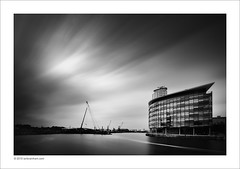 BBC Media City, Manchester (Ian Bramham) Tags: longexposure urban bw architecture landscape manchester photography photo nikon fineart bbc salford quays shipcanal mediacity d700 ianbramham 1635vr welcomeuk