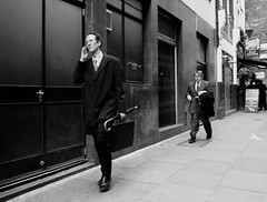 A step ahead or a step behind? (Ian Brumpton) Tags: street blackandwhite bw london blancoynegro candid londres citystreets iwillfollow londonstreetphotography scattidistrada aimlessstrolling blackwhiteheartbeats astepaheadorastepbehind