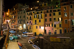 Night lights in Riomaggiore (sparkleshots (trying to catch up)) Tags: longexposure travel italy colour architecture night canon lights photo europe italia village terrace liguria cinqueterre riomaggiore
