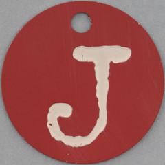 pink tag letter J