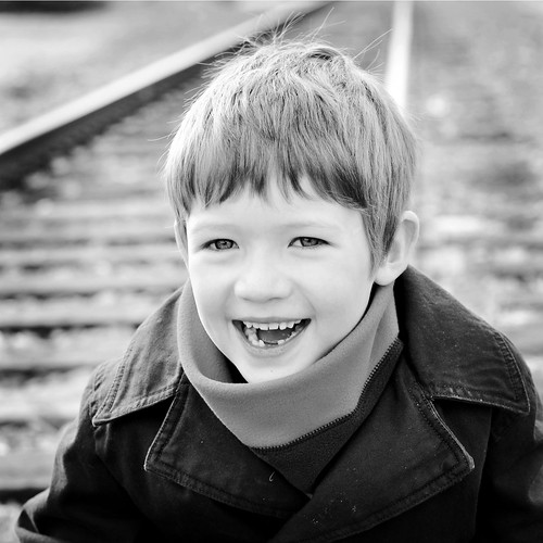 Rowan on the Tracks Smiling