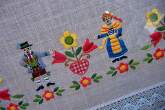 Embroidery (Scorpions and Centaurs) Tags: vacation holiday alps thread germany deutschland bavaria europe village embroidery sewing colourful handcraft oberammergau bayerisch