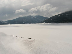 Palisades Reservoir (Amy@AHSC) Tags: snow mountains frozenlake