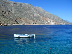 La Vie en Blue (Nikosp!) Tags: crete loutro chania hellas greece boat wooden fisherman blue sea sun cyan legrandblue nikosp