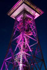 Funkturm in Pink  Festival of Lights, Berlin (Ole Begemann) Tags: pink berlin germany geotagged towers 2006 funkturm festivaloflights charlottenburg radiotower festivaloflights2006 original:filename=2006102520d022786 geo:lat=52505033 geo:lon=13278170