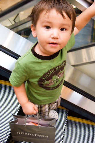 riding the escalator by himself at nordstrom (3)