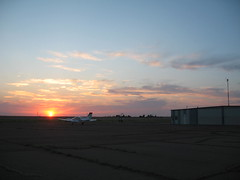 Sunset (funny strange or funny ha ha) Tags: school sunset oklahoma reunion plane town airport memorial day all weekend small fabulous ok hooker panhandle 2010
