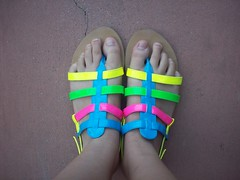 Aren't they bright? (nhiennvuong) Tags: feet rainbow shoes colorful sandals crack flipflops