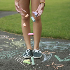 six: sometimes you just have to grow up. (courtney.ngo) Tags: summer colors grass childhood square chalk hands shoes courtney drop falling explore driveway pastels draw six frontpage crayola