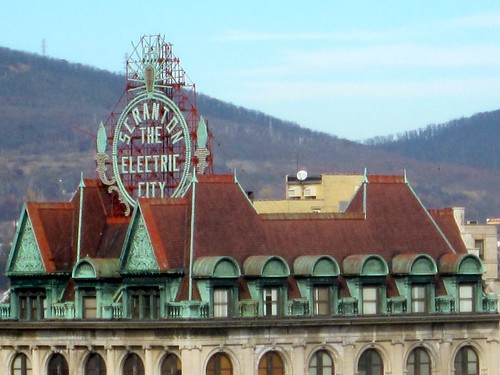 Scranton Electric City Sign from Lackawanna Train Station Radisson Hotel Window